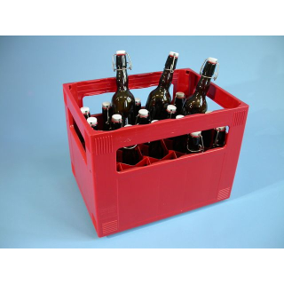 Crate filled with 20 fliptop bottles